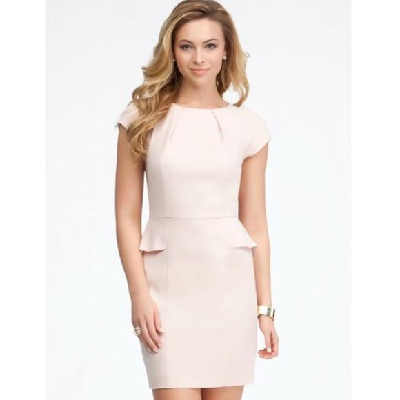 3c02b57876cd bebe Dresses   Skirts - Cream Pink Nude Peplum Wedding Dress Nordstrom